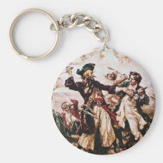 Vintage Pirate Captain Blackbeard Basic Round Button Keychain