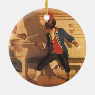 Vintage Pirate Captain, Sword Fight by NC Wyeth Round Ceramic Ornament
