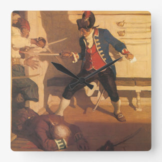 Vintage Pirate Captain, Sword Fight by NC Wyeth Square Wall Clock