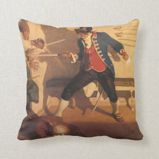 Vintage Pirate Captain, Sword Fight by NC Wyeth Throw Pillow