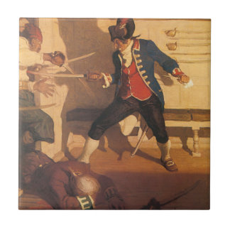 Vintage Pirate Captain, Sword Fight by NC Wyeth Tile