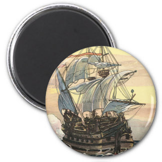 Vintage Pirate Ship, Galleon Sailing on the Ocean 2 Inch Round Magnet