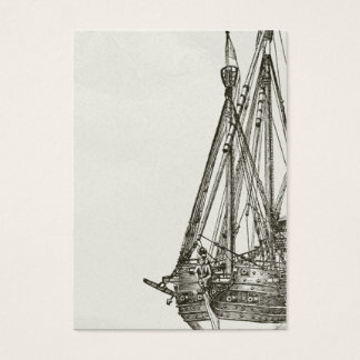 Vintage Pirate Ship Illustration Business Card