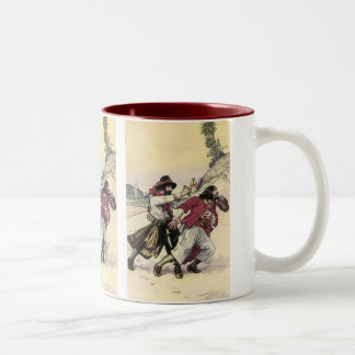 Vintage Pirates, Battle Duel till Death on Beach Two-Tone Coffee Mug