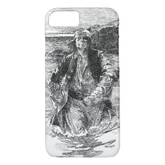 Vintage Pirates, Black and White Sketch, Tailpiece iPhone 7 Case