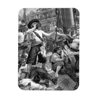 Vintage Pirates Drinking and Fighting on the Ship Rectangular Photo Magnet