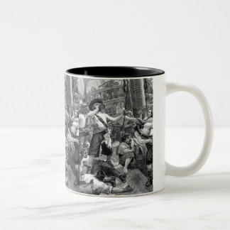Vintage Pirates Drinking and Fighting on the Ship Two-Tone Coffee Mug