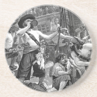 Vintage Pirates Fighting and Drinking on the Ship Coaster