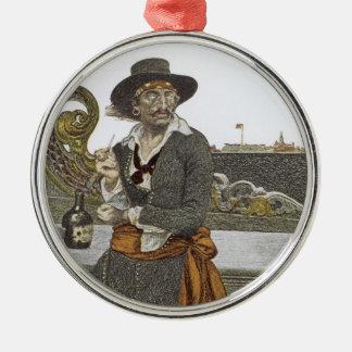 Vintage Pirates, Kidd on Deck of Adventure Galley Metal Ornament