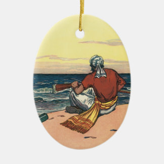 Vintage Pirates, Marooned on a Deserted Island Ceramic Oval Ornament