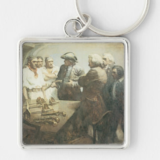 Vintage Pirates, Preparing for Mutiny by NC Wyeth Silver-Colored Square Keychain