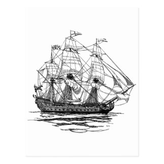 Vintage Pirates Sketch of a 74 Gun Ship Postcards