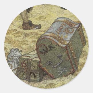 Vintage Pirates, William Kidd Burying Treasure Round Sticker