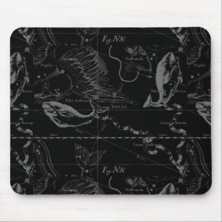 Vintage Pisces Constellation Hevelius Engraving Mouse Pad