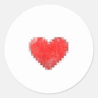 Vintage Pixel Heart Classic Round Sticker