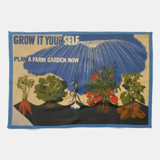 "Vintage ""Plan a Garden"" WPA Kitchen Towel"
