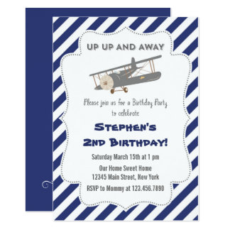 Vintage Plane Birthday Party Invitation