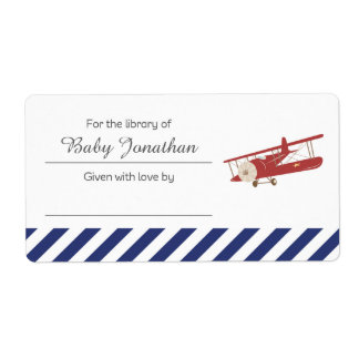 Vintage Plane Bookplate Label Sticker Shipping Label