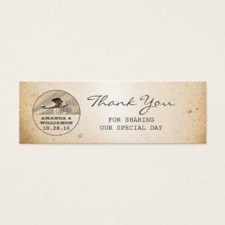 vintage plane destination wedding tags mini business card