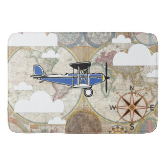 Vintage Plane & World Map Adventure Bath Mat