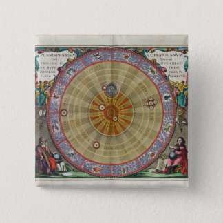 Vintage planisphere of Copernicus whole universe 2 Inch Square Button