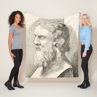 Vintage Plato The Philosopher Illustration Fleece Blanket
