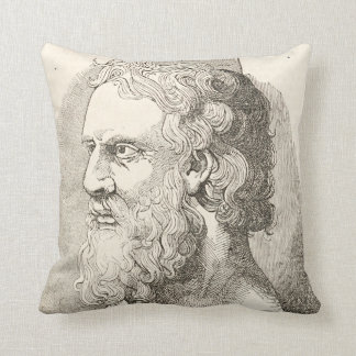 Vintage Plato The Philosopher Illustration Throw Pillow