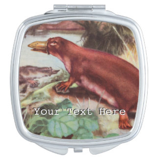 Vintage Platypus Illustration, Animal Drawing Vanity Mirror