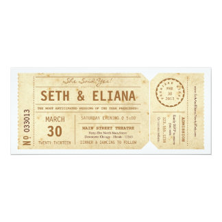 Vintage Playbill Ticket Wedding Invitation