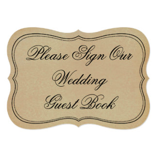 Vintage Please Sign Our Wedding Guest Book Sign Card