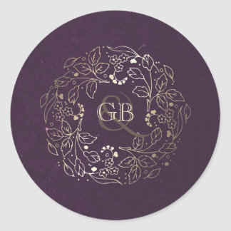 Vintage Plum and Gold Floral Wreath Wedding Classic Round Sticker
