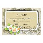 "Vintage plumeria and ivy beige wedding RSVP card 3.5"" X 5"" Invitation Card"
