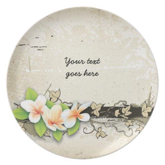 Vintage plumeria/frangipani and ivy beige plate