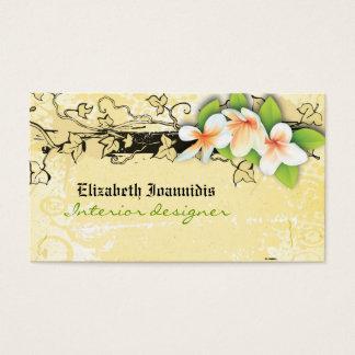 Vintage plumeria interior designer business card