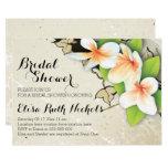 """Vintage plumeria & ivy beige wedding bridal shower 5"""" x 7"""" invitation card"""
