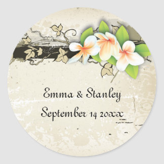 Vintage plumeria ivy beige wedding Save the Date Classic Round Sticker
