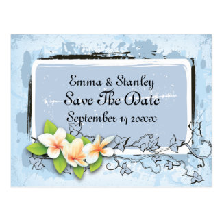 Vintage plumeria ivy blue white Save the Date Postcard