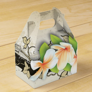 Vintage plumeria & ivy custom beige wedding favor box