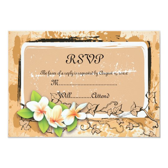 "Vintage plumeria ivy orange white RSVP card 3.5"" X 5"" Invitation Card"