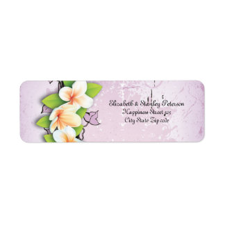 Vintage plumeria ivy purple white wedding label return address label