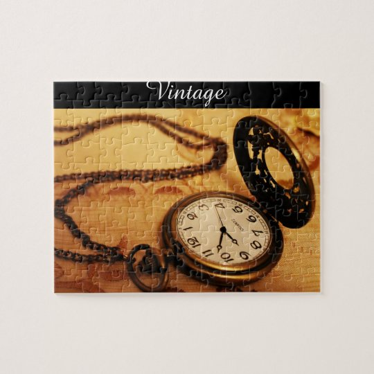 Vintage pocket watch photography on puzzle