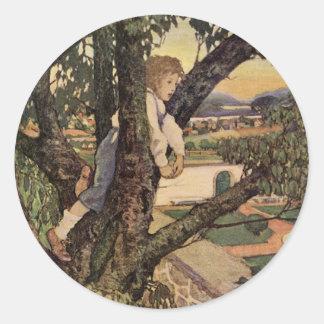 Vintage Poem, Foreign Land by Jessie Willcox Smith Classic Round Sticker