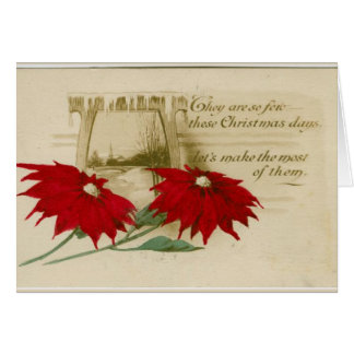 Vintage poinsettia christmas greeting card