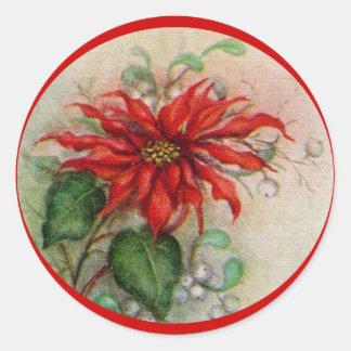 Vintage Poinsettia Flower Christmas Sticker