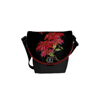 Vintage Poinsettia Flower Engraving/Graphic Messenger Bag