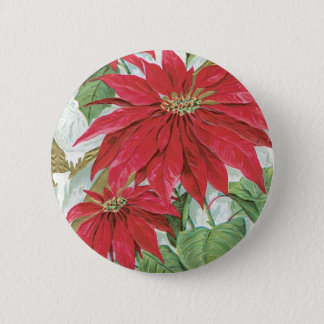 Vintage Poinsettia illustration. 2 Inch Round Button