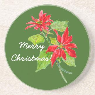 Vintage Poinsettia Merry Christmas Coaster