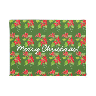 Vintage Poinsettia Merry Christmas Pattern Doormat