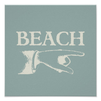 Vintage Pointing Beach Sign Poster