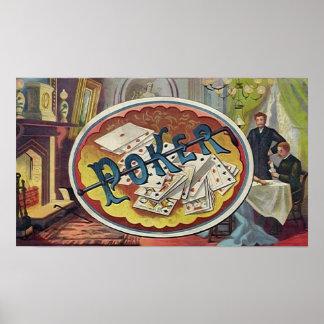Vintage Poker Mens Smoking Room Gambling Poster